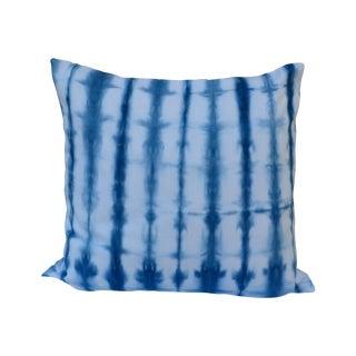 Indigo Striped Shibori Pillow