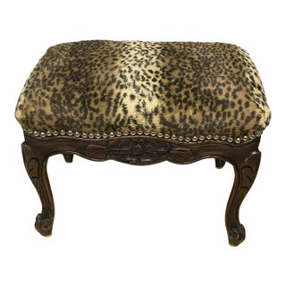 Vintage Style Faux Leopard Print Fabric Footstool