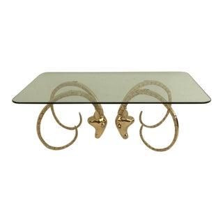 Polished Brass Ibex or Ram's Head Coffee Table