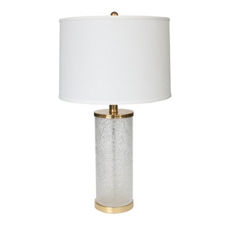 Paul Hanson 1970s Etched Glass & Brass Table Lamp