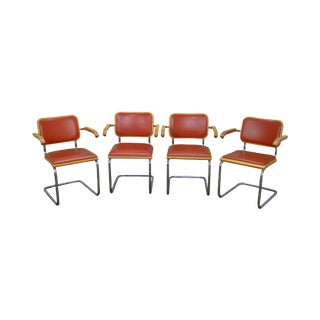 Thonet Original Set of 4 Mid Century Chrome Frame Leather Dining Chairs