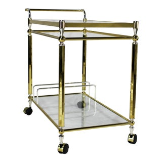 Vintage Brass & Chrome Bar Cart