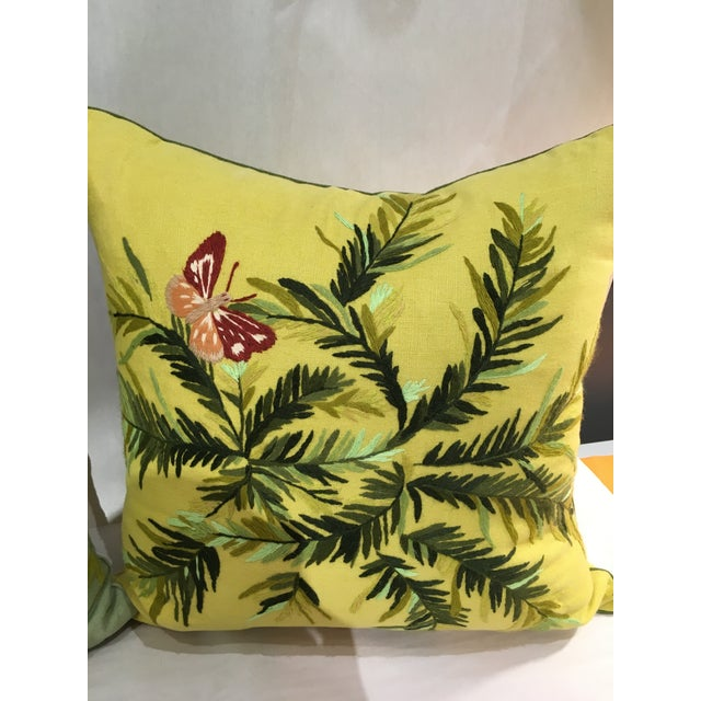 Linen Embroidered Pillows - A Pair - Image 3 of 5