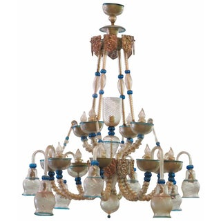 Venetian Turquoise Glass Chandelier