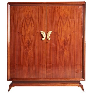1920s Vintage French Art Deco Lacquered Mahogany Armoire