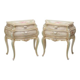 Venetian Style Paint Decorated Bombe Nightstands - A Pair