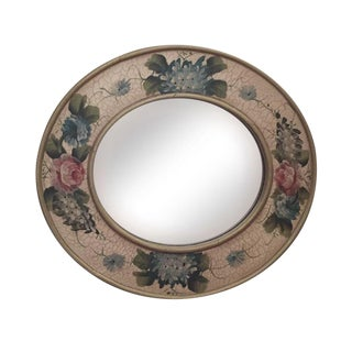 Vintage Hand Painted Crackled Wood Mirror