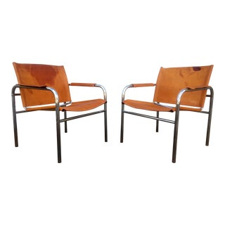 Distressed Leather & Chrome Sling Chairs - A Pair