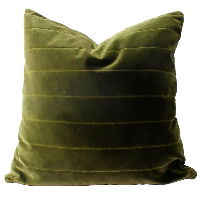 Donghia Green Italian Cotton Velvet Accent Pillow - Image 1 of 2