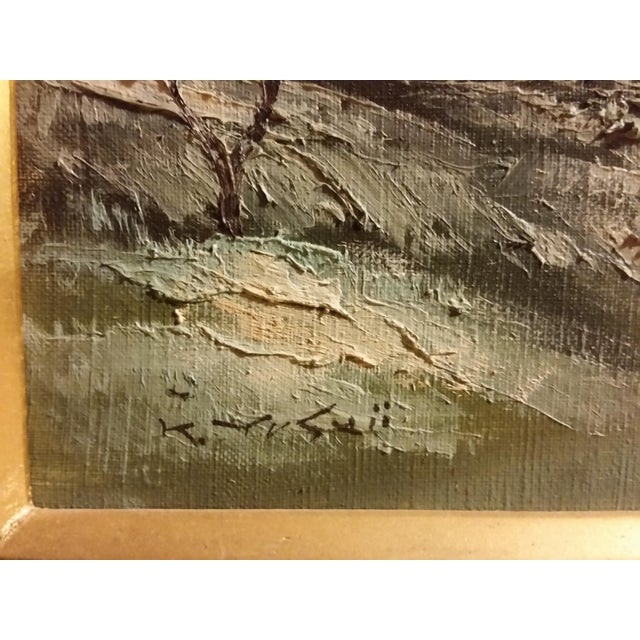 Mid-Century Signed Japanese Oil Painting - Image 4 of 8