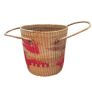 Large Southwestern Woven Basket With Handles