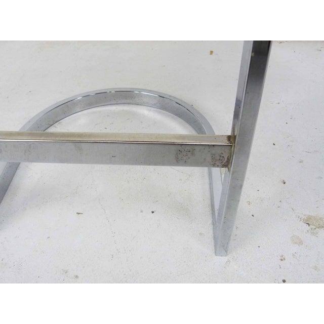Milo Baughman Style Flat Bar Chrome Cantilever Bar Stools - A Pair - Image 7 of 10