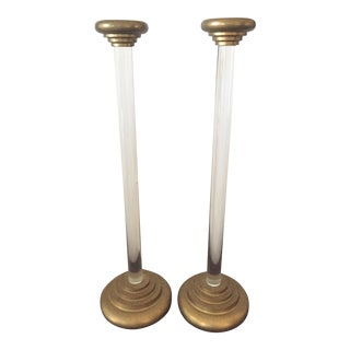 Pair of Vintage Karl Springer Style Lucite and Brass Candlestick Holders