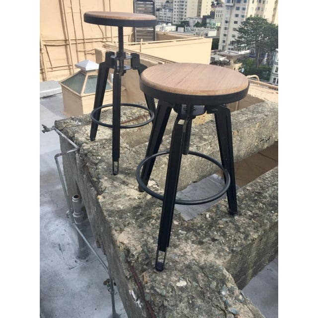 Industrial Adjustable Vintage Stool - Image 3 of 11