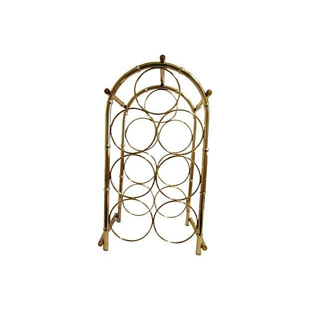 Brass-Plated Dome Bamboo Wine Rack - Image 2 of 6
