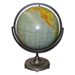 Vintage Globe on Cast Iron Stand C.1920's