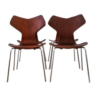 Teak Arne Jacobsen Grand Prix Chairs C. 1970 - S/4