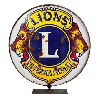 Enamel Lion's Club Sign