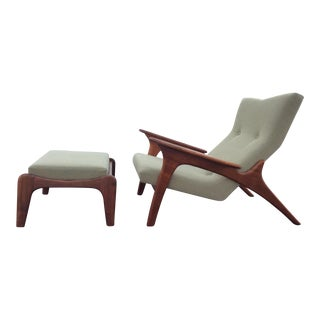 Adrian Pearsall Craft Associates Walnut Lounge Chair & Ottoman