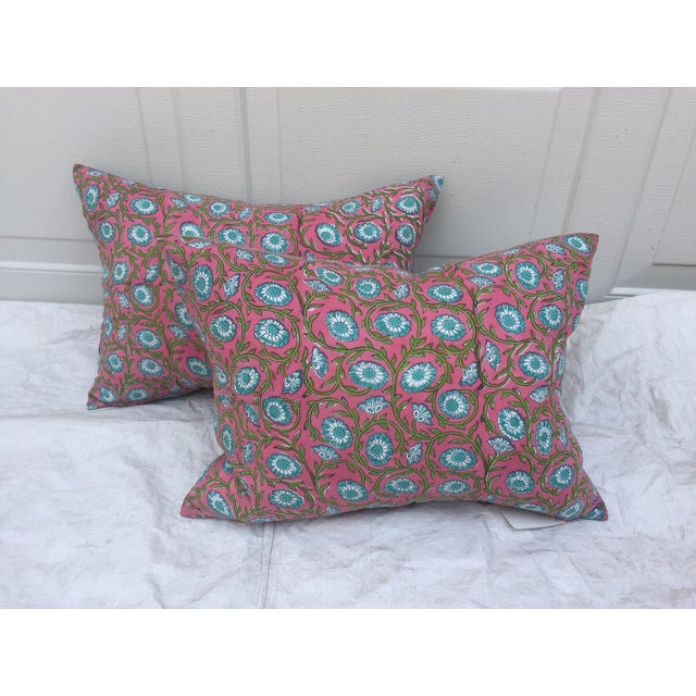 Image of Hand-Blocked Pink Indian Pillows - A Pair