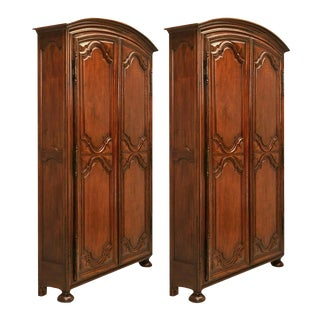 Circa 1800 French Arched Top Shallow Bookcases - A Pair