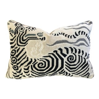 """24"""" X 16"""" Clarence House Tibet Dragon Velvet Fabric Feather & Down Pillow"""