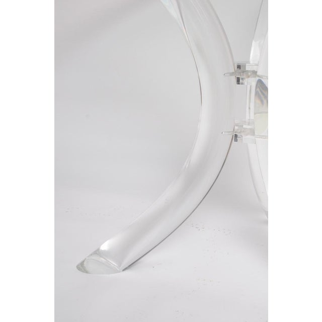 Thick Tube Lucite Table Base and Glass Top - Image 2 of 9