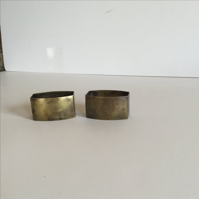 Image of Brass Napkin Holders - A Pair