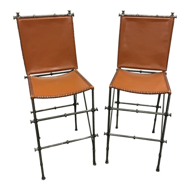 Leather & Rebar Bar Stools - a Pair - Image 1 of 6