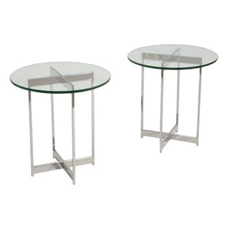 Mid-Century Chrome & Glass Side Tables