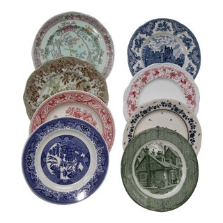 Mismatched Transfer Ware Ironstone Dinner Plates - Set of 8