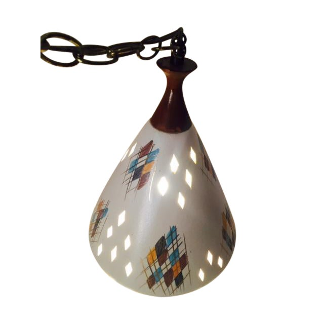 Mid-Century Modern Ceramic & Wood Swag Light - Image 1 of 6