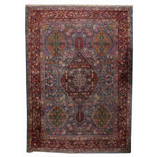 1910s Hand Made Antique Persian Yazd Rug - 9.8' X 13.5'