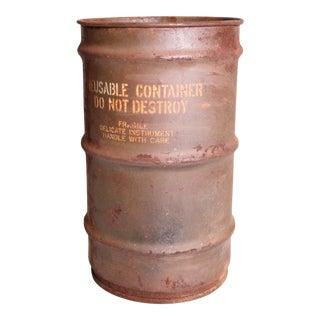 Vintage Industrial Green Metal Military Barrel