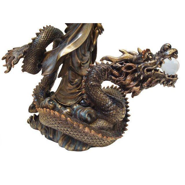 Asian Quan Yin & Dragon Statue - Image 5 of 6