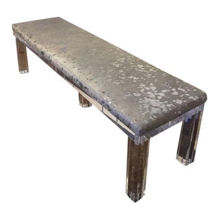 Outstanding Lucite Bench with Silver Metallic Leather Hide Seat