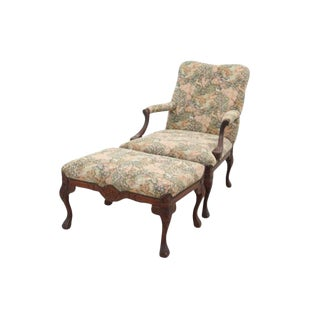 Louis XV Style Jungle Fauteuil and Ottoman