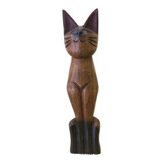 Mid-Century Carved Wood Siamese Cat