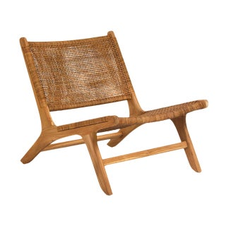 Woven Teak Lounge Chairs - a Pair