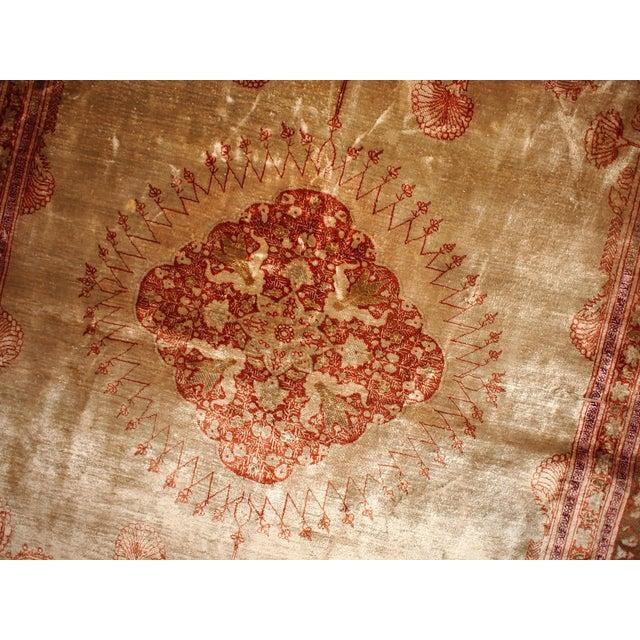 1880s Antique Persian Silk Tabriz Rug - 4' X 6' - Image 5 of 6