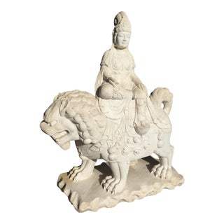 Antique Chinese Quan Yin Carved Garden Statue