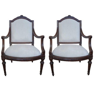 18th Century Italian Walnut Armchairs - A Pair