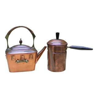 Vintage Copper Side Handle Coffee Pot & Brass Tea Pot Set