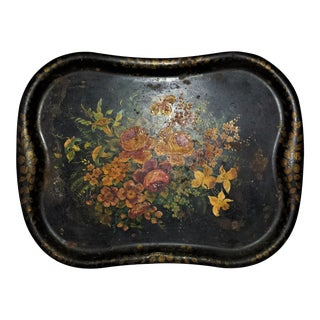 Large Victorian Toleware Painted Metal Tray