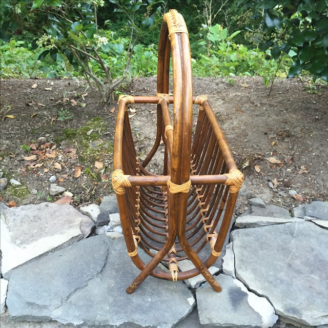 Vintage Rattan Bentwood Magazine Caddy - Image 6 of 6