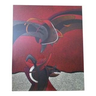 Milton Estrella-Gavidia Monumental Rojo Y Negro Cut Impasto Abstract Modern Painting