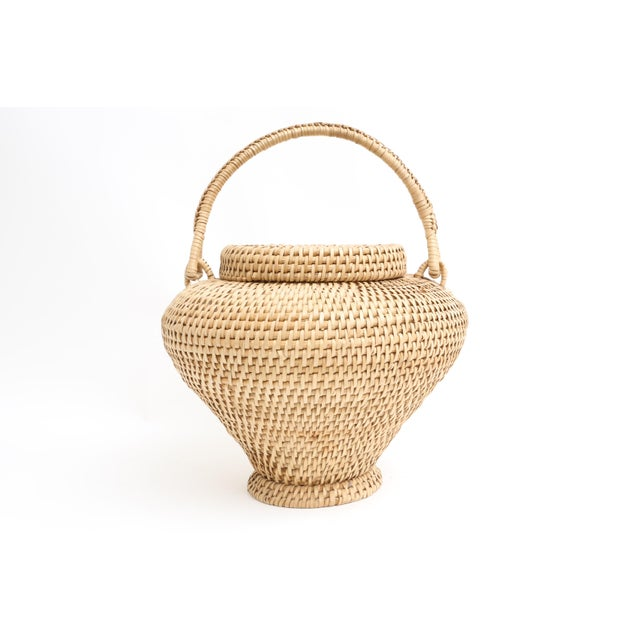 Large Vintage Hand-Woven Herb Basket with Handle - Image 2 of 6