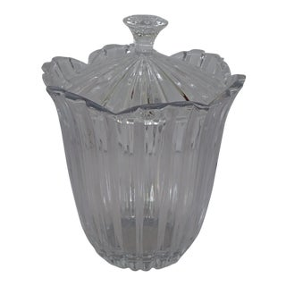 Elegant Cut Glass Lidded Ice Bucket/Candy Dish /Decorative Bowl