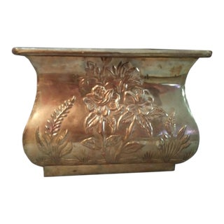 Embossed Floral Brass Planter