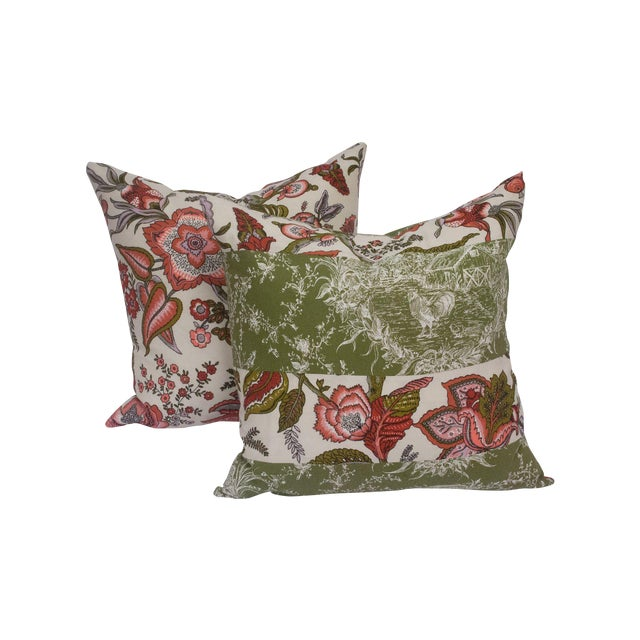 Toile & Vintage Floral Pillows - A Pai - Image 1 of 8